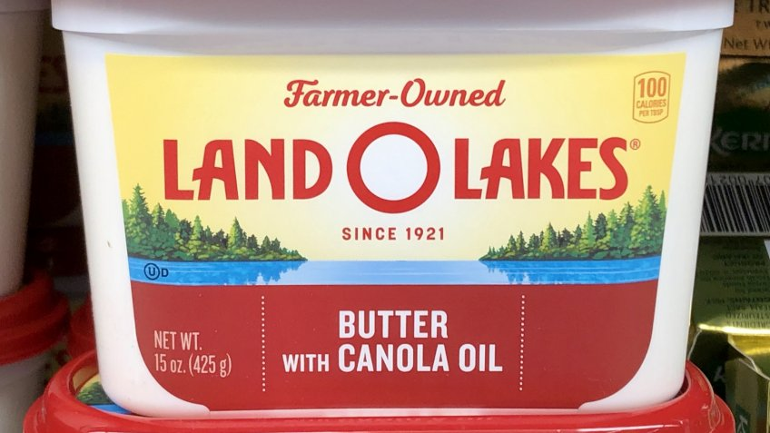 BILOXI, UNITED STATES - May 25, 2020: Close-up of new Land O Lakes butter label.