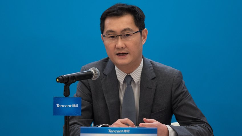 Mandatory Credit: Photo by JEROME FAVRE/EPA-EFE/Shutterstock (10161913b)The Chairman and Chief Executive Officer of Tencent Holdings, Ma Huateng, speaks during the company's 2018 annual results press conference in Hong Kong, China, 21 March 2019.