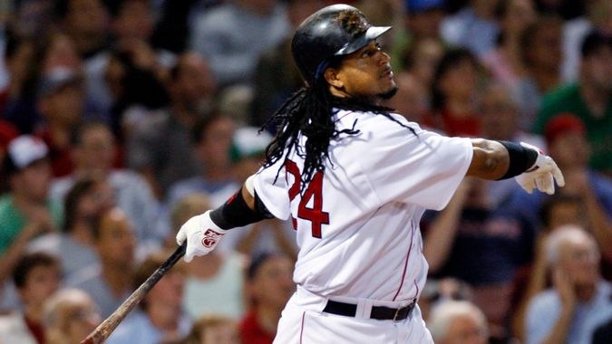 Mandatory Credit: Photo by Elise Amendola/AP/Shutterstock (6357446a)Manny Ramirez Boston Red Sox's Manny Ramirez flies out to center in the eighth inning of a baseball game against the Los Angeles Angels at Fenway Park in Boston on .