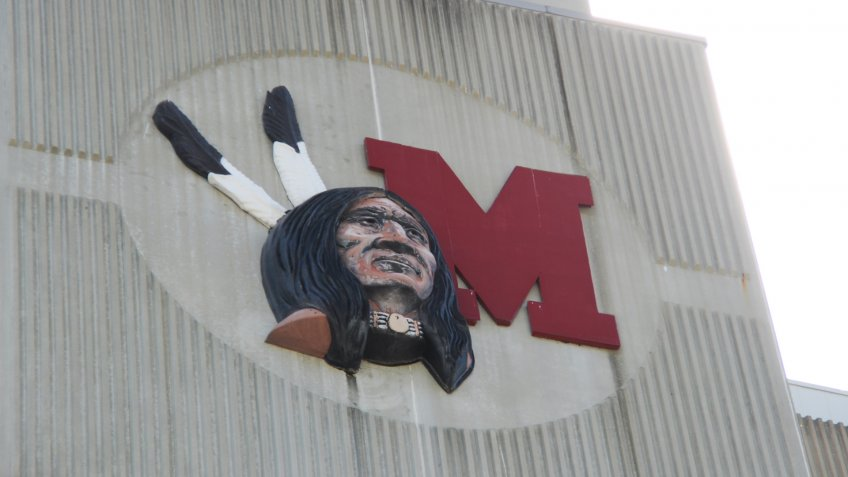 May 30, 2016 Oxford, OH, Miami University Yager Stadium college football, the old Redskins team logo on the outside of the stadium replaced by the Redhawks.