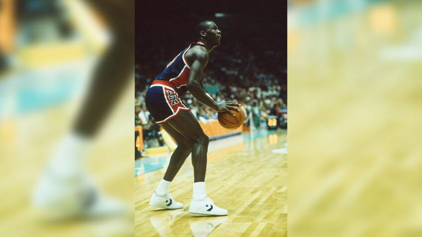 Michael Jordan of the USA competes in the men's basketball tournament of the 1984 Summer Olympics.