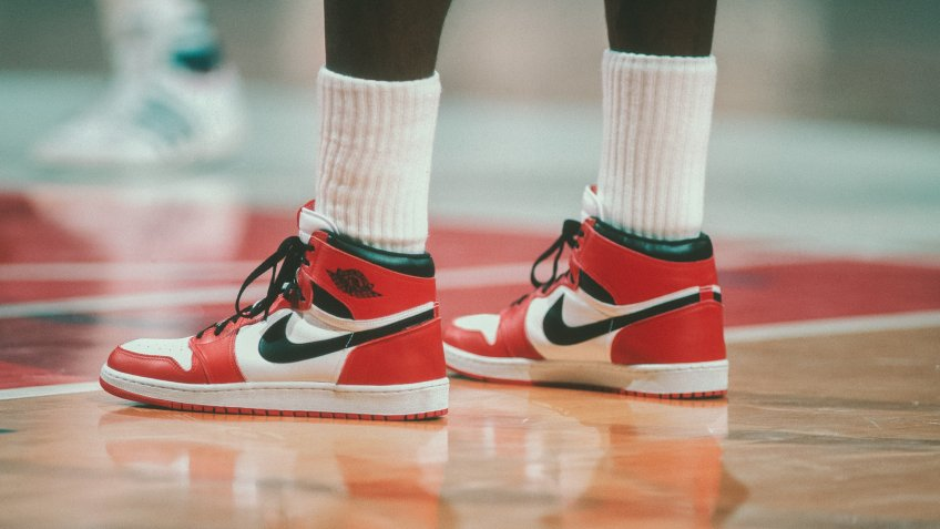 "WASHINGTON - 1985:  Detail of the ""Air Jordan"" Nike shoes worn by Chicago Bulls' center Michael Jordan #23 during a game against the Washington Bullets at Capital Centre circa 1985 in Washington, D."