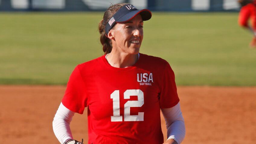 Mandatory Credit: Photo by Sue Ogrocki/AP/Shutterstock (10440121eu)Pitcher Monica Abbott during a simulated game at the USA Softball Women's Olympic Team Selection Trials, in Oklahoma CitySoftball, Oklahoma City, USA - 02 Oct 2019.