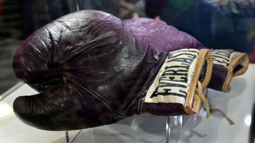 Mandatory Credit: Photo by Nils Jorgensen/Shutterstock (5609258l)Muhammad Ali's gloves used to fight Joe Frazier at Madison Square Garden 1971'I Am The Greatest: Muhammad Ali' exhibition at the O2, London, Britain - 03 Mar 2016Press view of exhibition featuring more than 100 artefacts from the boxer's career, put together with the help of the Ali family, showcased to celebrate the life of the former heavyweight champion giving an insight into one of the sport's most famous personalities.