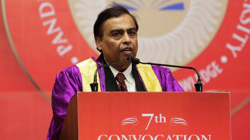 Mandatory Credit: Photo by Ajit Solanki/AP/Shutterstock (10374470e)Reliance Chairman Mukesh Ambani speaks during a convocation ceremony at the Pandit Deendayal Petroleum University in Gandhinagar, IndiaConvocation, Gandhinagar, India - 29 Aug 2019.