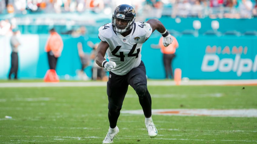 Mandatory Credit: Photo by JC Ridley/CSM/Shutterstock (10041135z)Myles Jack #44 of Jacksonville in action during the NFL football game between the Miami Dolphins and Jacksonville Jaguars at Hard Rock Stadium in Miami Gardens FL.