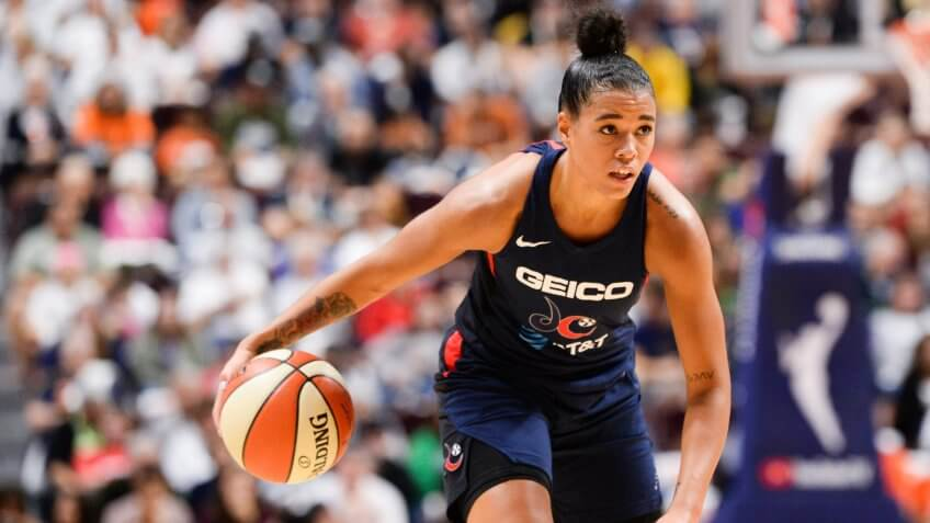 #9 of the Washington Mystics dribbles the ball against the Connecticut Sun in the second quarter of Game 3 of the WNBA Finals at Mohegan Sun Arena on October 6, 2019 in Uncasville, Connecticut.