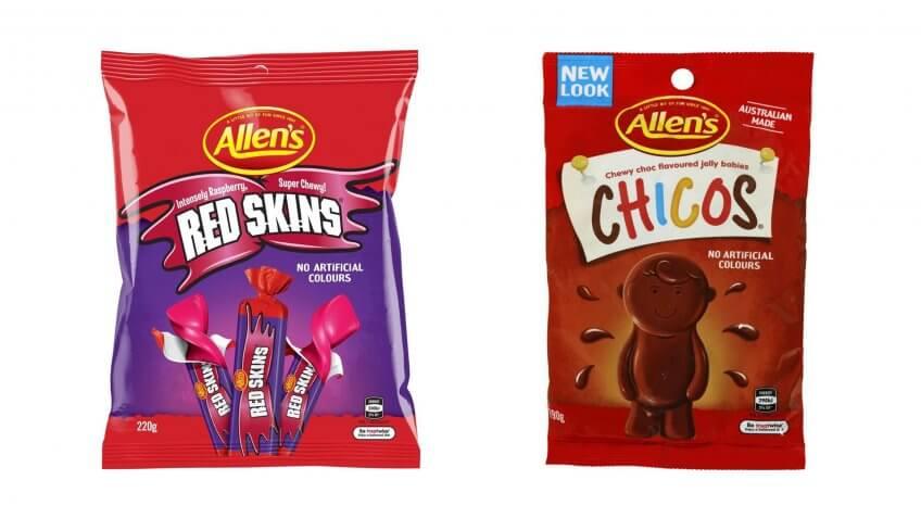 Nestle Allen's Red Skin and Chico candies.