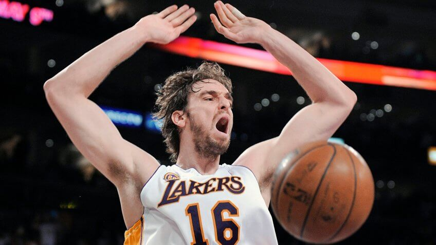 Pau Gasol, Deron Williams Los Angeles Lakers forward Pau Gasol (16), of Spain, reacts after a dunk against Utah Jazz guard Deron Williams (8) during the first quarter of Game 1 in their second round basketball playoff series on in Los Angeles.
