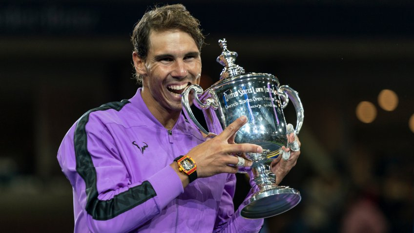 New York, NY - Sep 8, 2019: Rafael Nadal (Spain) poses with trophy after winning mens final match at US Open Championships against Daniil Medvedev (Russia) at Billie Jean King National Tennis Center.
