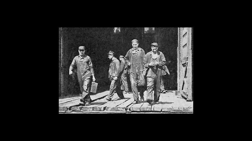 Railroad Shopmen walking off the job in the July 1922 Railway Strike