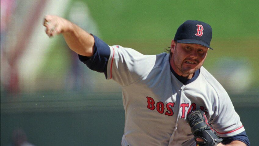 Mandatory Credit: Photo by Tim Sharp/AP/Shutterstock (6525695b)CLEMENS Boston Red Sox pitcher Roger Clemens throws during the first inning against the Texas Rangers at the Ballpark in Arlington, Texas, Monday afternoonRED SOX RANGERS, ARLINGTON, USA.