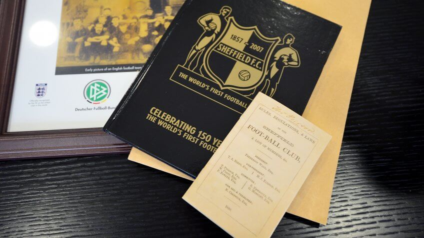 FRANKFURT AM MAIN, GERMANY - JULY 20: A copy of 'Rules, Regulations and Law' from the English football team Sheffield F.