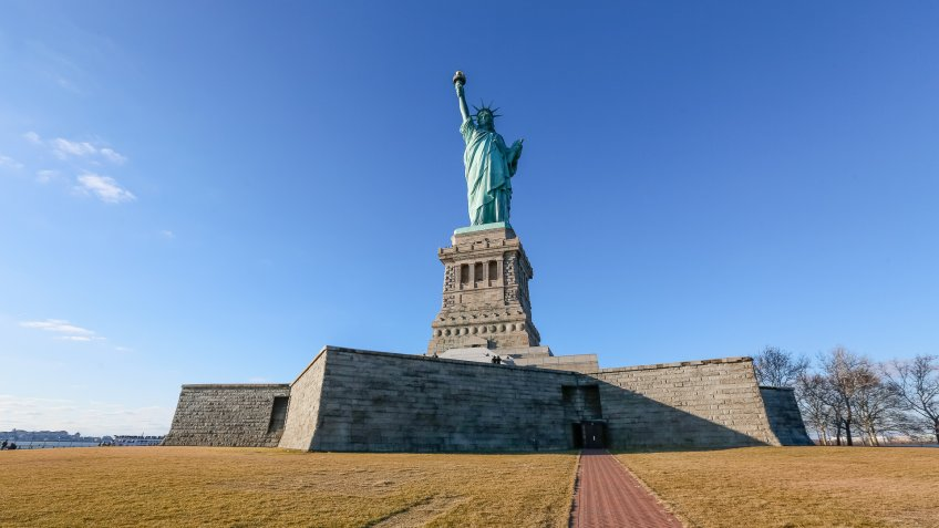 Statue of Liberty with pedestal base.