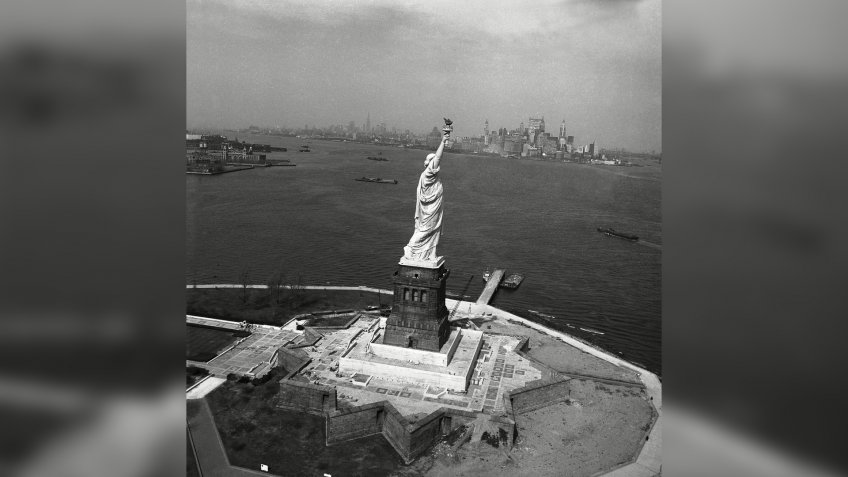 National monuments; New York Harbor The Statue of Liberty in New York is seen in New York HarborStatue Of Liberty 1965, New York, USA.