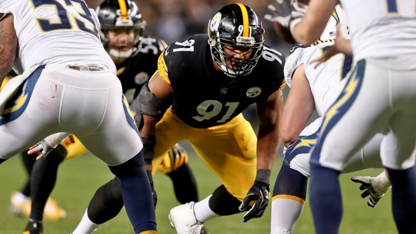 Mandatory Credit: Photo by Don Wright/AP/Shutterstock (10013950hv)Pittsburgh Steelers defensive end Stephon Tuitt (91) plays in an NFL football game against the Los Angeles Chargers, in PittsburghChargers Steelers Football, Pittsburgh, USA - 02 Dec 2018.