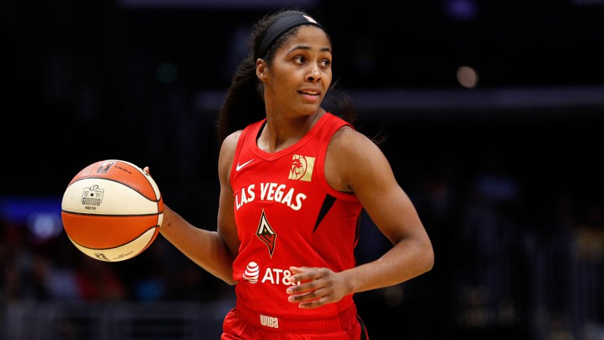 LOS ANGELES, CALIFORNIA - AUGUST 01: Guard Sydney Colson #51 of the Las Vegas Aces handles the ball in the game against the Los Angeles Sparks at Staples Center on August 01, 2019 in Los Angeles, California.