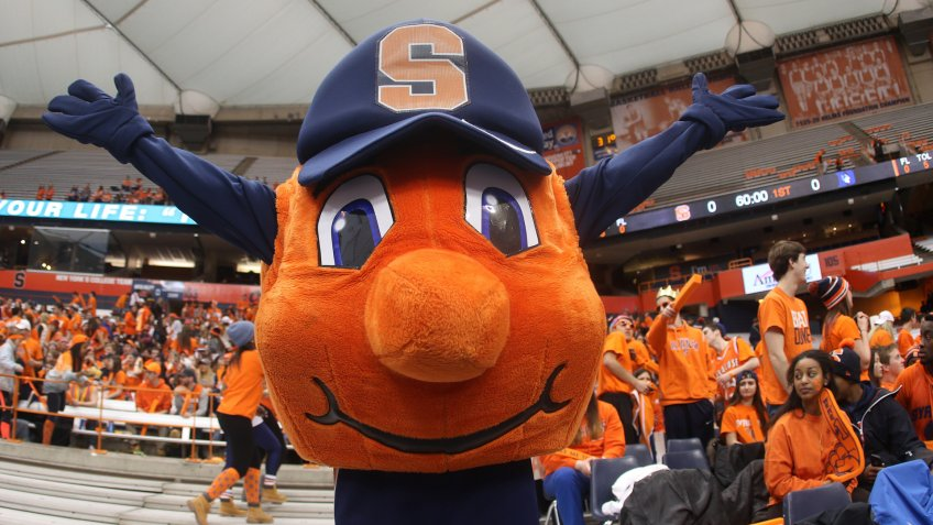 14 February 2015: Syracuse Orange mascot Otto the Orange cheers during ncaa basketball game between Duke Blue Devils and Syracuse Orange at the Carrier Dome in Syracuse, NY.