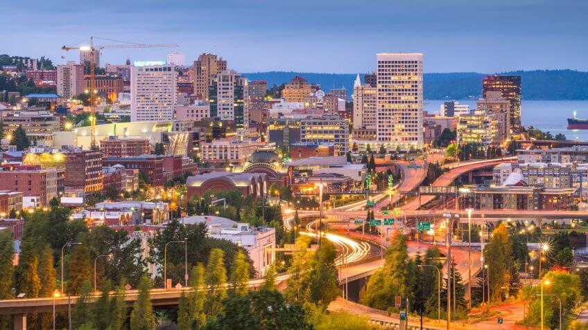 Tacoma, Washington, USA skyline at night.