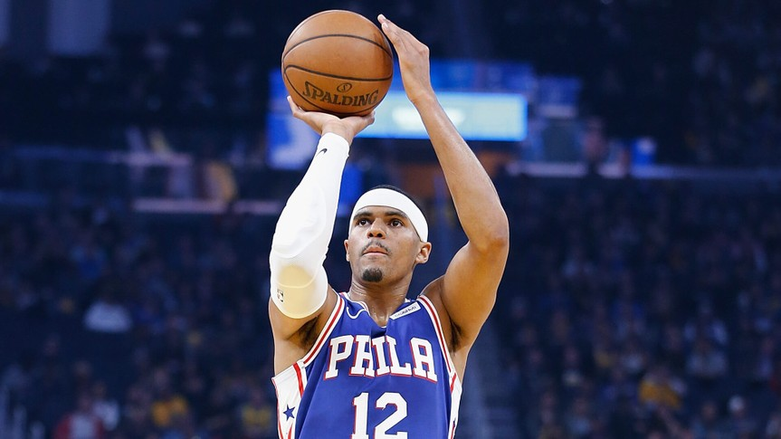 SAN FRANCISCO, CALIFORNIA - MARCH 07: Tobias Harris #12 of the Philadelphia 76ers shoots a free throw in the first half against the Golden State Warriors at Chase Center on March 07, 2020 in San Francisco, California.