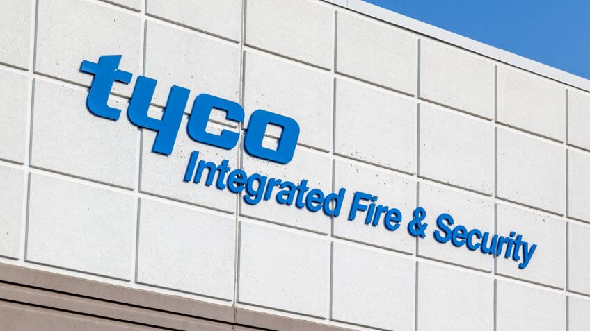 Mississauga, Ontario, Canada- August 25, 2018: Sign of Tyco Integrated Fire & Security on the head office building in Mississauga, a company specializing in electronic security and fire protection.