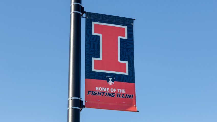 URBANA, IL/USA - JUNE 3, 2018: Campus athletic banner at University of Illinois at Urbana–Champaign.