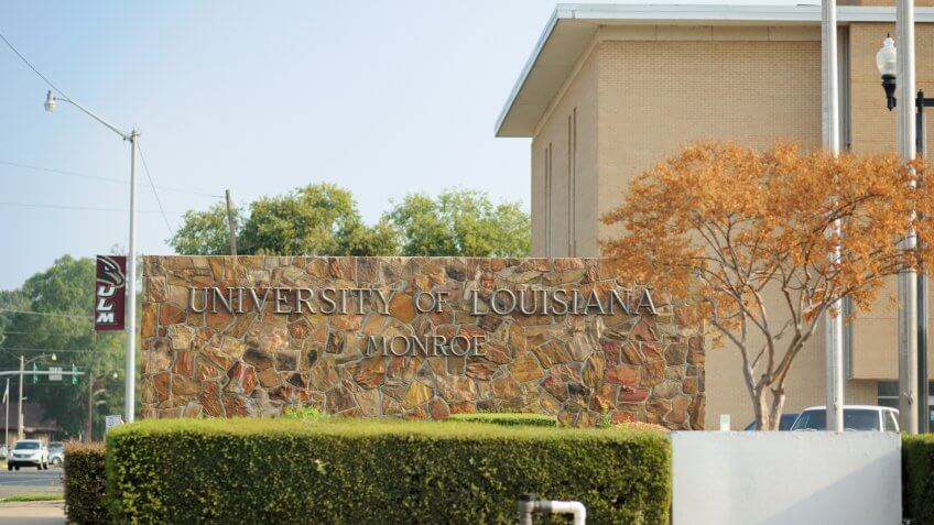 Monroe, Louisiana, USA - September 13, 2013: Sign for The University of Louisiana Monroe.