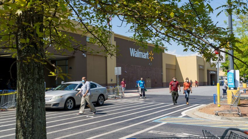Walmart customers outside
