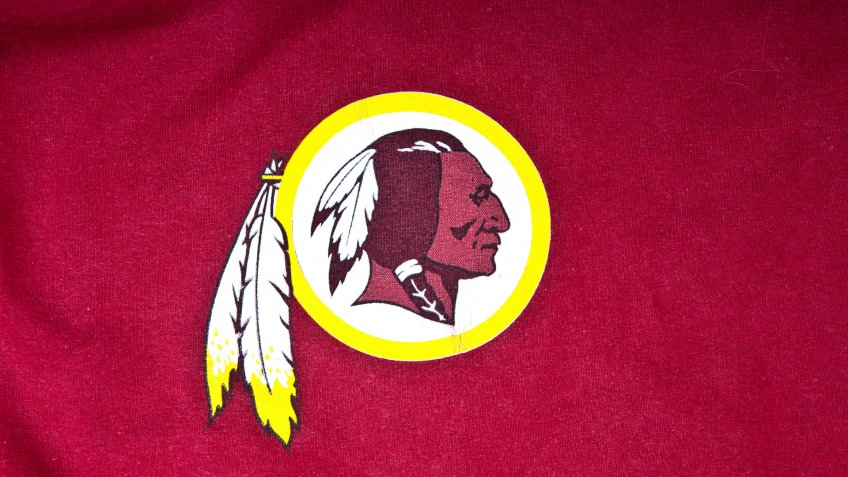ZAGREB , CROATIA - AUGUST 19 , 2014 : NFL Washington Redskins club logo printed on textile equipment ,product shot.