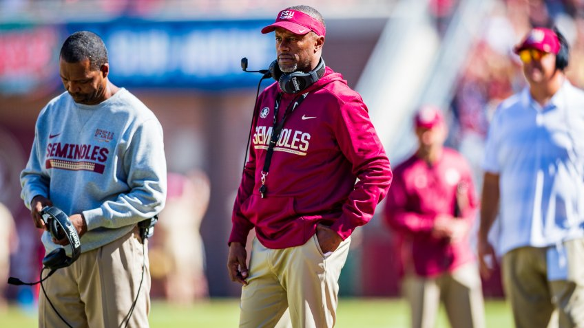 Florida State Seminoles head coach Willie Taggart during the NCAA college football game between Clemson and Florida State on at Doak Campbell Stadium in Tallahassee, FLNCAA Football Clemson vs Florida State, Tallahassee, USA - 27 Oct 2018.