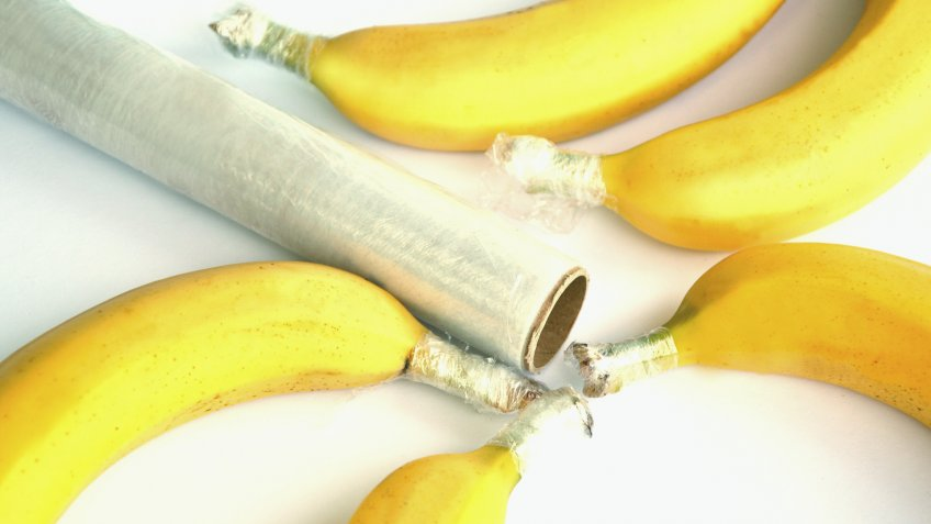 bananas with wrap over stem