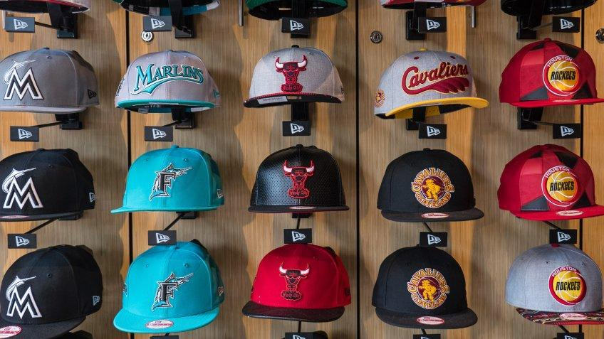 baseball hats in sports store