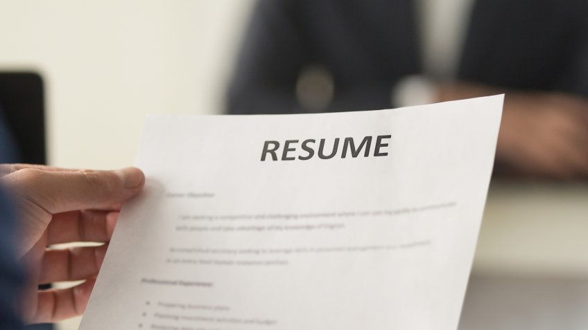 business interview with resume
