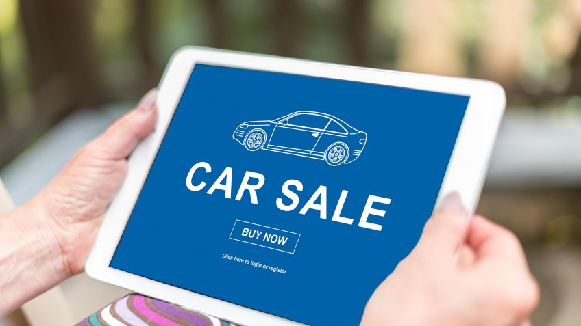 car for sale on tablet