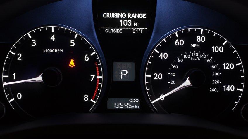 Back-lit car control panel.