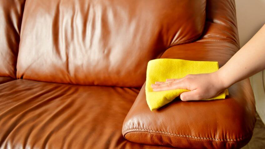 brown sofa cleaning.