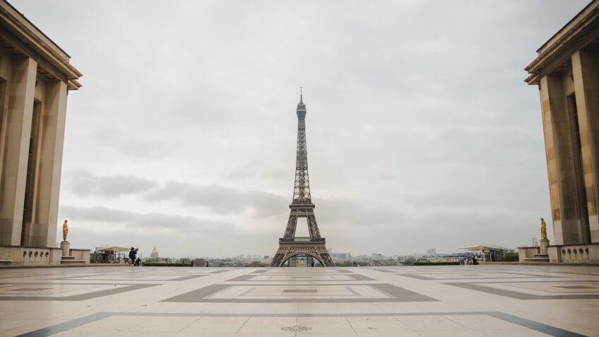 empty Paris Eiffel Tower