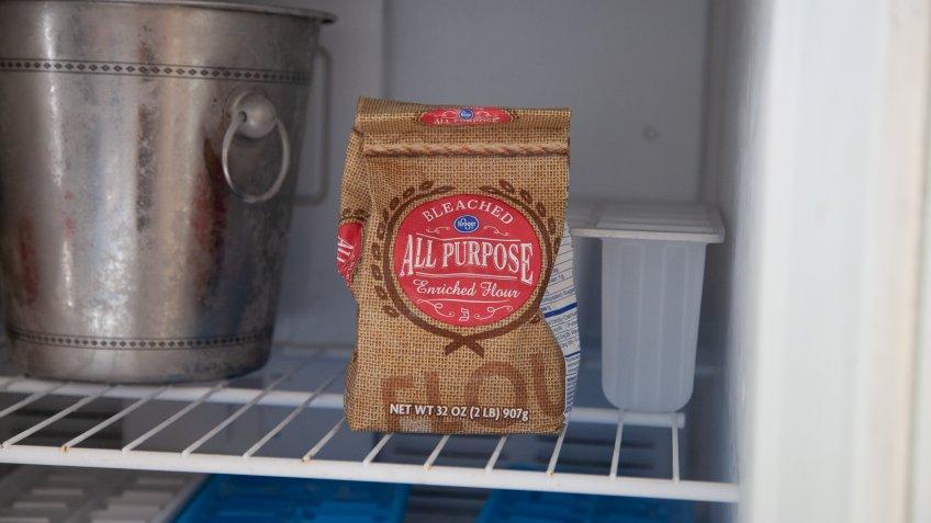 flour in the freezer
