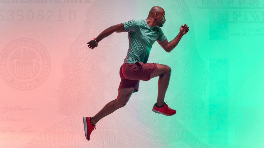 guy running with money background