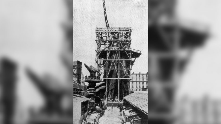 circa 1885:  The framework for the right arm of the Statue Of Liberty during construction in Paris.