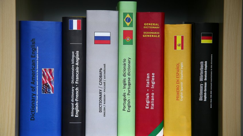 Bookcase with numerous foreign languages dictionaries.