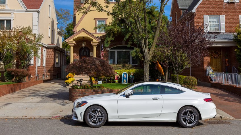 Mercedes-Benz Coupe parked on the street in Bay Ridge, Brooklyn, New York, USA.