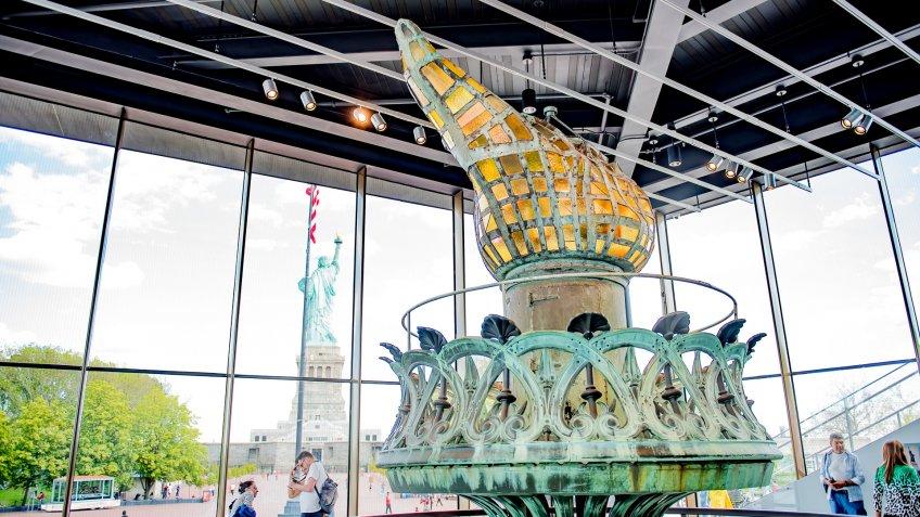 new Statue of Liberty Museum on Liberty Island with original fla