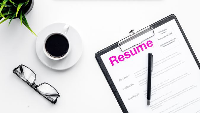 resume document at desk