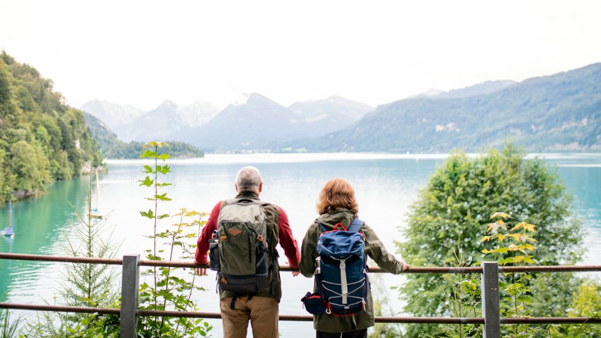 A rear view of senior pensioner couple standing by lake in nature.