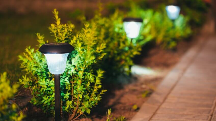 Decorative Small Solar Garden Light, Lanterns In Flower Bed In Green Foliage.
