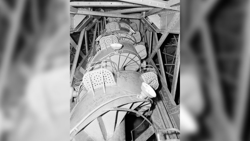 Interior Spiral stairway, built within supporting structure of the Statue of Liberty, which visitors climb to reach observation platform beneath crown, shownStatue of Liberty 1946, New York, USA.