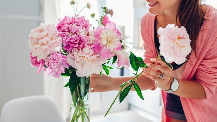 Woman puts pink peonies flowers in vase.