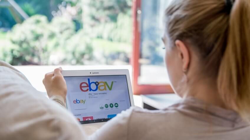 woman on ebay tablet