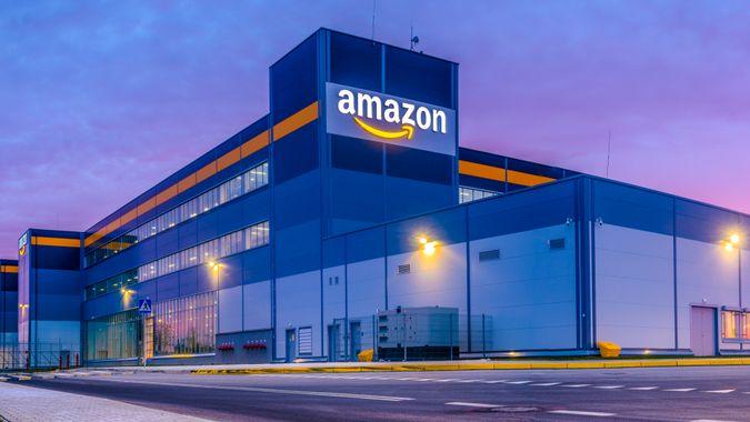 Szczecin, Poland-November 2018: Amazon Logistics Center in Szczecin, Poland in the light of the rising sun,panorama.